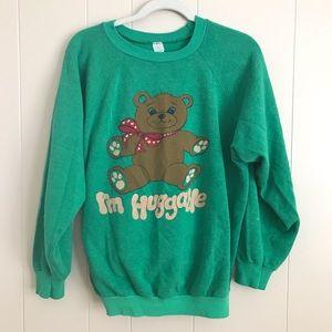 70s Retro Huggable Teddy Bear Sweatshirt Womens S